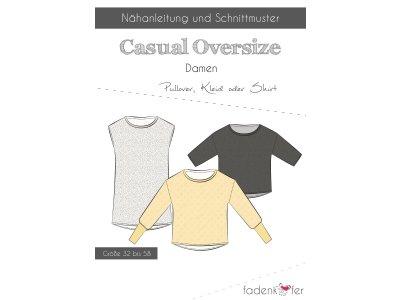 Papier-Schnittmuster Fadenkäfer Casual Oversize Pullover, Kleid o. Shirt Damen