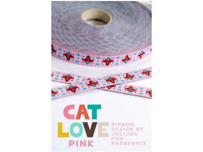 Webband Cat Love by Jolijou Farbenmix 15mm pink