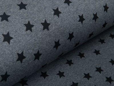 Alpenfleece Melange - unregelmäßige Sterne - meliert grau