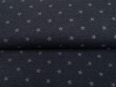Single Jersey Melange mit Glitzer - Sterne - meliert grau