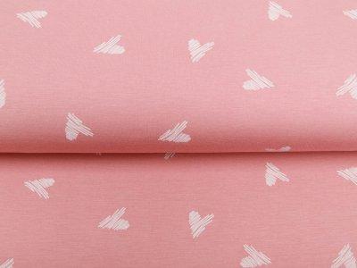 Single Jersey - schraffierte Herzen - rosa