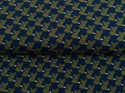 Single Jersey - Origami-Füchse - navy