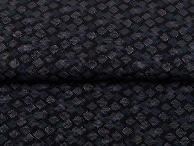 Single Jersey - schraffierte Rauten - schwarz