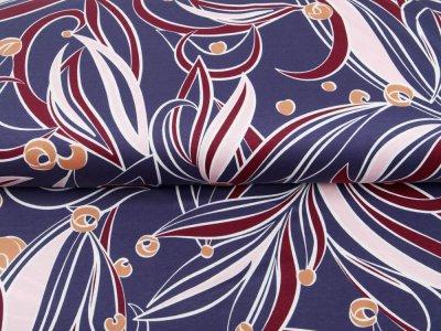 Single Jersey - verschnörkeltes Muster - rauchblau
