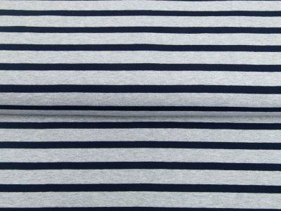 Single Jersey Melange - Streifenmix - meliert grau