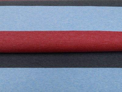 Single Jersey Melange - Blockstreifen - meliert grau