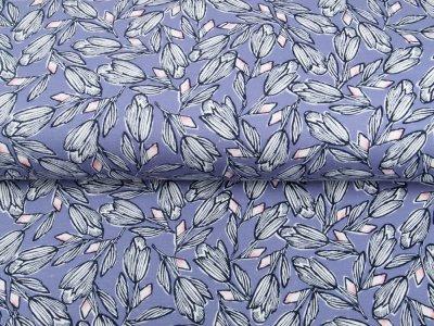 Single Jersey - Tulpen - indigoblau