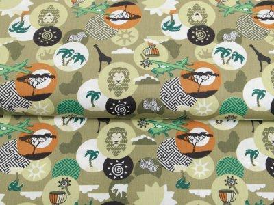 Webware Baumwolle Popeline - Dschungel-Patches - khaki