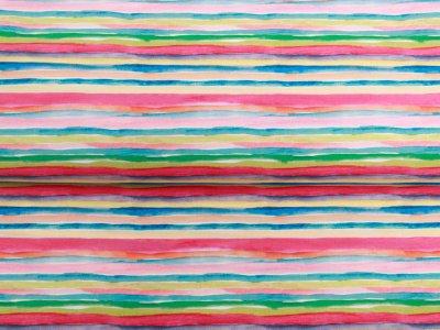 Webware Baumwolle Popeline - Aquarelle Streifen - pink