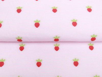 Webware Baumwolle - aufgestickte Erdbeeren auf Streifen - weiß