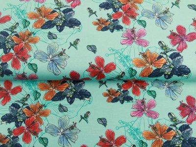 Jersey - Schmetterlingsblumen - mint