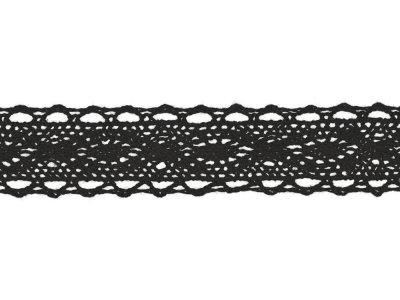 Spitze Baumwolle - 25 mm - schwarz