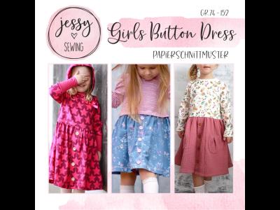 "Papier-Schnittmuster Jessy Sewing - Kleid ""Girls Button Dress"" - Kinder"