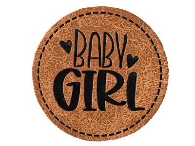 """Jessy Sewing Kunstleder-Label mit aufgedruckter Nähnaht - """"Baby Girl"""" - braun"""