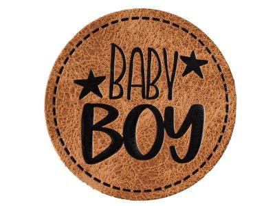 """Jessy Sewing Kunstleder-Label mit aufgedruckter Nähnaht - """"Baby Boy"""" - braun"""