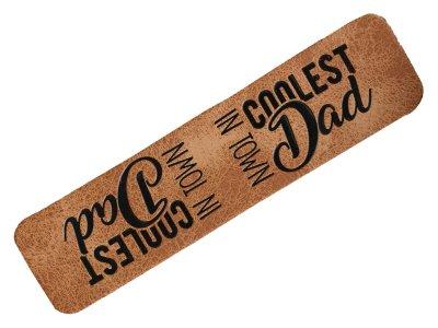 "Jessy Sewing Kunstleder-Knick-Label - ""coolest Dad in town"" - braun"