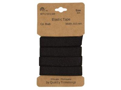 Gummiband elastisch 15 mm - uni schwarz