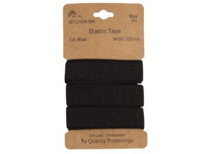 Gummiband elastisch 20 mm - uni schwarz