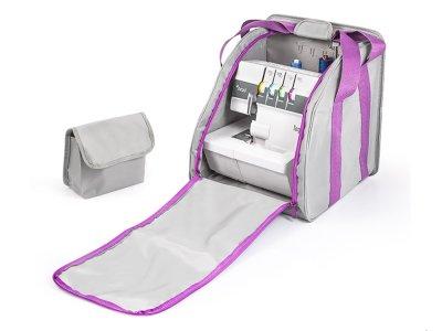 Overlock-Tasche Enjoy Bag ca. 30 cm x 38 cm x 27 cm - grau/lila