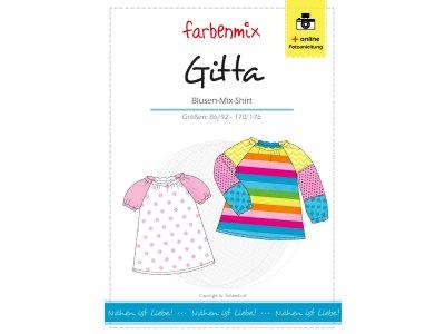Papierschnittmuster Farbenmix Blusen- Mix- Shirt GITTA - Mädchen