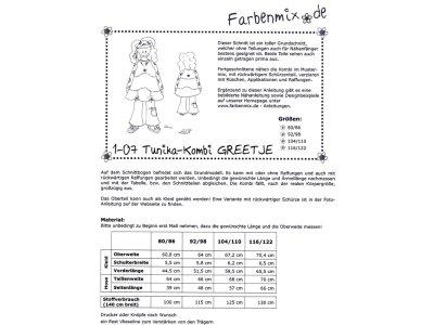 Papierschnittmuster Farbenmix Tunika - Kombi GREETJE - Mädchen