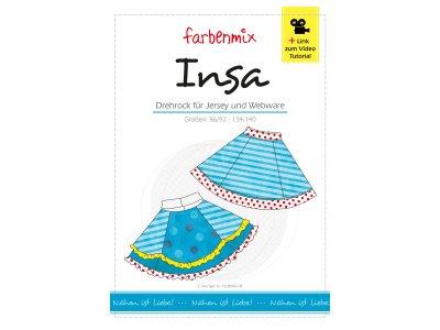 Papierschnittmuster Farbenmix Drehrock INSA - Mädchen