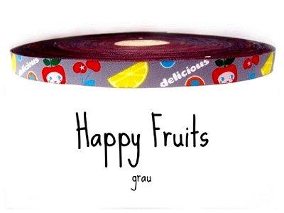"""Webband """"Happy Fruits"""" grau"""