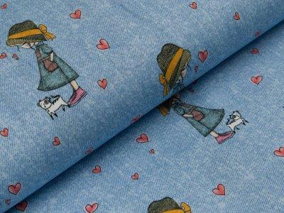 Jersey - Fräulein von Julie - Herzen und Mädchen mit Katze - hellblau
