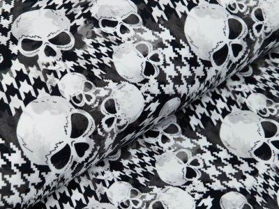 Sweat Fench Terry Fräulein von Julie - Skulls auf Hahnentrittmuster - weiß