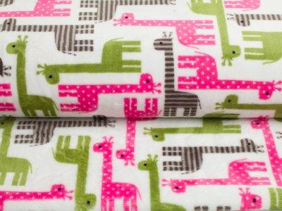 """Cuddle® Hochwertiger Microfaser Soft Plüsch """"Urban Zoologie"""" Giraffen weiß-rosa-olive"""