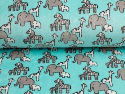 """Cuddle® Hochwertiger Microfaser Soft Plüsch """"Little Safari"""" Zebras Elefanten Giraffen aqua-grau-weiß"""