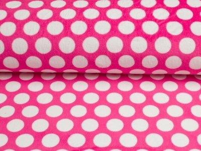 """Cuddle® Hochwertiger Microfaser Soft Plüsch """"Mod Dot"""" Punkte pink-weiß"""