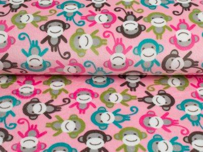 """Cuddle® Hochwertiger Microfaser Soft Plüsch """"Monkey Zoo"""" Affen rosa-bunt"""