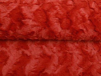Zottel-Wellnessfleece Fur - Wellenoptik - uni terrakotta