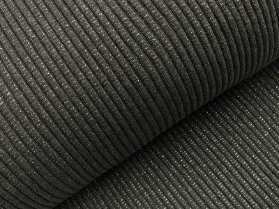 Grobes Ripp-Strick Bündchen mit Glitzer im Schlauch - dunkles grau/silber