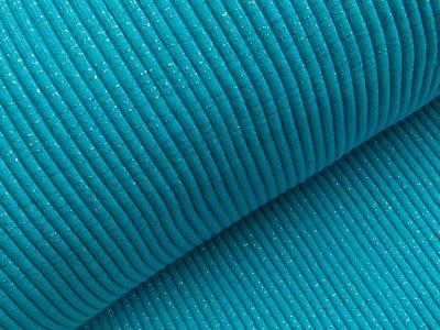 Grobes Ripp-Strick Bündchen mit Glitzer im Schlauch - helles blau/blau