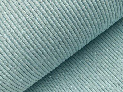 Grobes Ripp-Strick Bündchen mit Glitzer im Schlauch - helles blau/silber