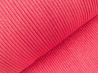Grobes Ripp-Strick Bündchen mit Glitzer im Schlauch - pink/silber
