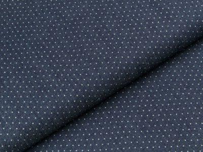Leichter Jeansstoff - kleine Punkte - dunkles jeansblau