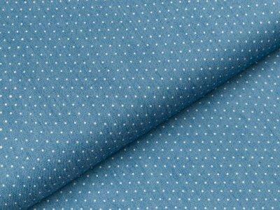 Leichter Jeansstoff - kleine Punkte -  jeansblau