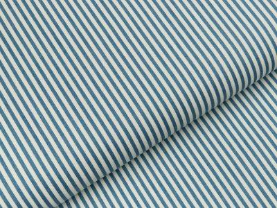 Leichter Jeansstoff - Längsstreifen - jeansblau/weiß