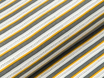 Angerauter Sweat Softtouch - gestrichelte Streifen - grau/ocker