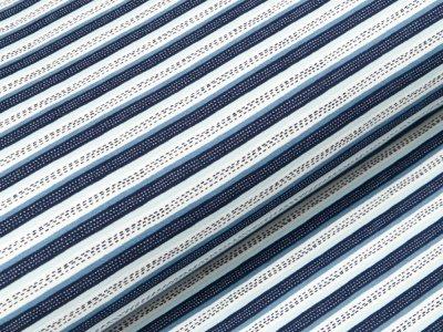 Angerauter Sweat Softtouch - gestrichelte Streifen - grau/blau