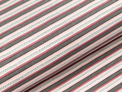 Angerauter Sweat Softtouch - gestrichelte Streifen - grau/rosa