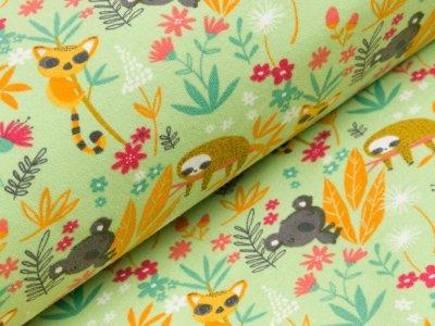 Angerauter Sweat Softtouch - Blumen,Faultiere,Koalas und andere Tiere - lime