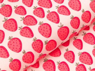 Sweat French Terry mit Glitzer - Erdbeeren - rosa