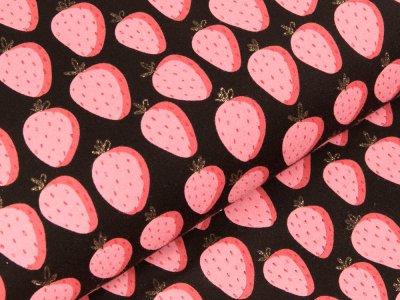 Sweat French Terry mit Glitzer - Erdbeeren - schwarz