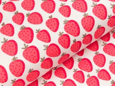 Sweat French Terry mit Glitzer - Erdbeeren - weiß