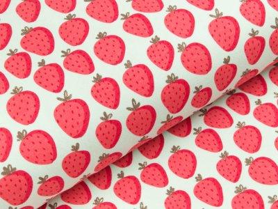 Sweat French Terry mit Glitzer - Erdbeeren - mint