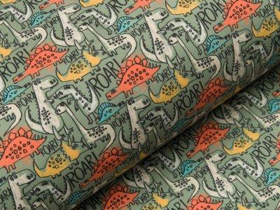 Jackenstoff Softshell 3-lagig - verschiedene Dinosaurier - olive